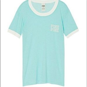 Pink ringer tee in teal